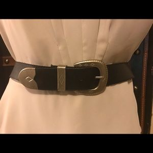 Beautiful Black Belt with Silver Hardware!